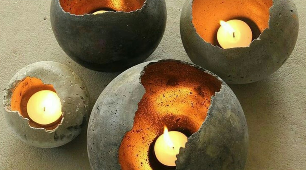 Candle Holders: Using Concrete Candle Vessel